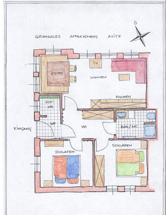 Raumaufteilung Appartement Asitz